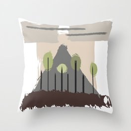 Forest Regrowth Abstract Landscape Throw Pillow