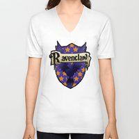 ravenclaw V-neck T-shirts featuring Ravenclaw Crest by AriesNamarie
