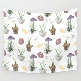 Mushrooms, spurge, horsetail, lily of the valley, leaves. Wall Tapestry