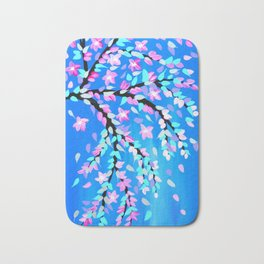 Pink Cherry Blossom and Blue phone case Bath Mat