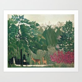 The Waterfall by Henri Rousseau 1910 // Jungle Waterfall Deer Indigenous People Flowers Plant Scene Art Print
