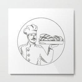 Baker Holding Bread on Plate Doodle Art Metal Print