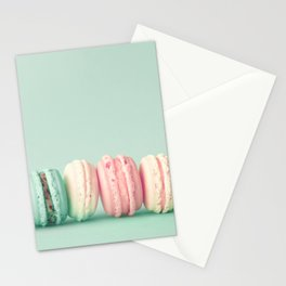 Sweet macarons, macaroons over mint Stationery Cards