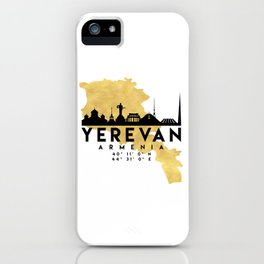 YEREVAN ARMENIA SILHOUETTE SKYLINE MAP ART iPhone Case