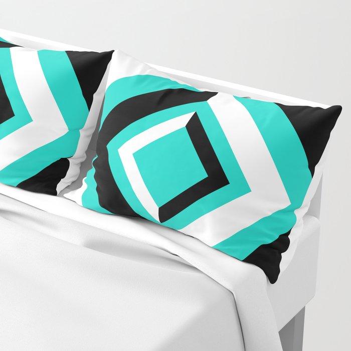 Teal Black and White Diamond Shapes Digital Illustration - Artwork Pillow Sham