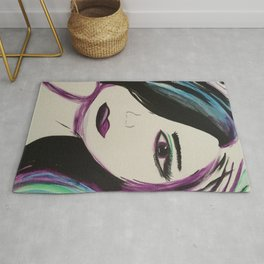 Colorful Girl. Abstract Girl Purple Green.Pop Art by Jodilynpaintings. Figurative Abstract Pop Art. Rug