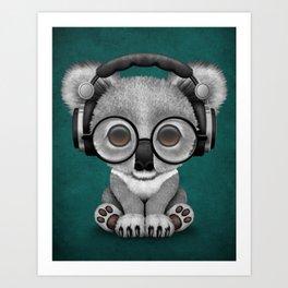 Cute Baby Koala Bear Dj Wearing Headphones on Blue Art Print