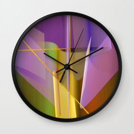 Modern abstract with crossing golden lines Wall Clock