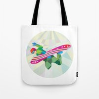 snowboard Tote Bags featuring Snowboarder Snowboard Jumping Low Polygon by patrimonio