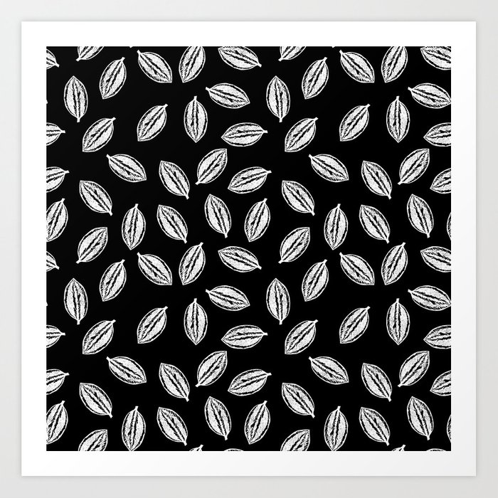 Linocut Leaf Pattern Abstract Black And White Printmaking Design Art