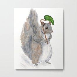 Squirrel illustration, watercolor Metal Print