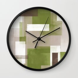 Modern Abstract No. 6   Green Grass, Taupe, Chocolate + White Wall Clock