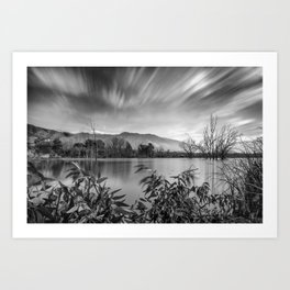 """""""Windy Clouds At The Lagoon"""" BW Art Print"""