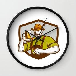 Oktoberfest Bavarian Beer Drinker Shield Retro Wall Clock