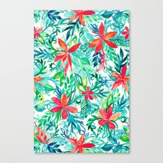 Paradise Floral - a watercolor pattern Canvas Print