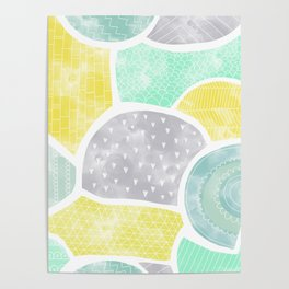 Watercolor doodle shape seamless pattern Poster
