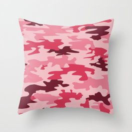 Camouflage Print Pattern - Pinks & Purples Throw Pillow
