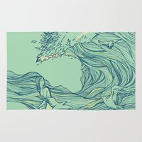 waves Area & Throw Rugs featuring Ocean Breath by Huebucket