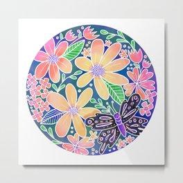 Circle of Butterflies and Flowers Metal Print