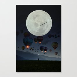 Human facing the moon and balloons by GEN Z Canvas Print