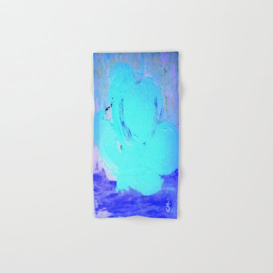 Neon Winter Rose, Abstract In Nature, Ice Blue Hand & Bath Towel