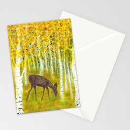 Deer Grazing in a Grove of Golden Aspen Trees Stationery Cards