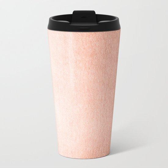 Simply Sweet Peach Coral Shimmer Metal Travel Mug
