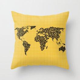 Yellow world map Throw Pillow