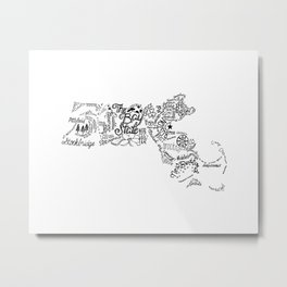 Massachusetts Hand Drawn Type and Illustrations Metal Print