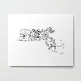 Massachusetts - Hand Lettered Map Metal Print