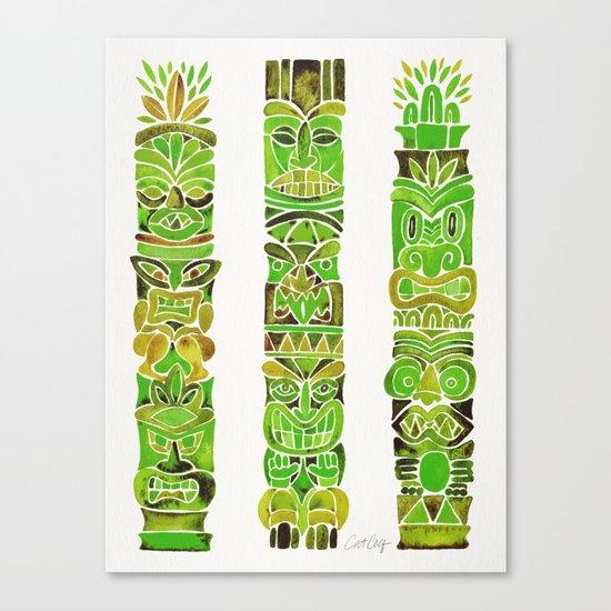 Tiki Totems – Green Canvas Print