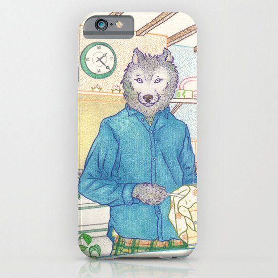 Everyday Animals - Mr Wolf washes the dishes iPhone & iPod Case