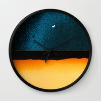 moon phase Wall Clocks featuring New Moon - Phase II by Marina Kanavaki