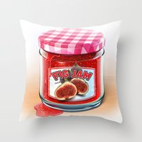 fig Throw Pillows featuring FIG JAM by Vin Zzep
