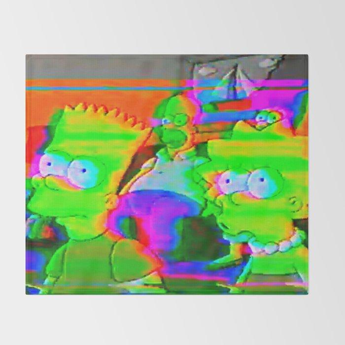 simpsons acid glitch Throw Blanket
