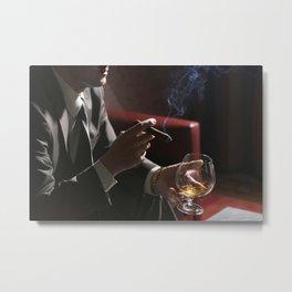 Businessman Cigar and Whiskey Metal Print