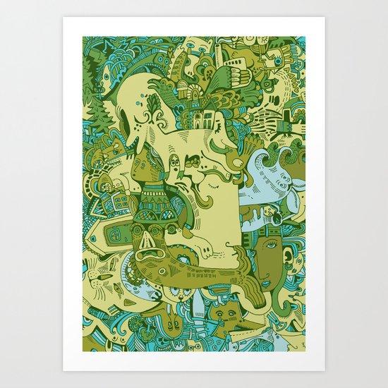 Green Town Art Print