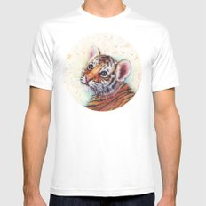Tiger Cub Cute Baby Animals White Mens Fitted Tee MEDIUM