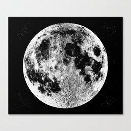 Black + White Full Moon, print by Christy Nyboer Canvas Print