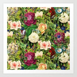 Vintage Floral Garden Art Print