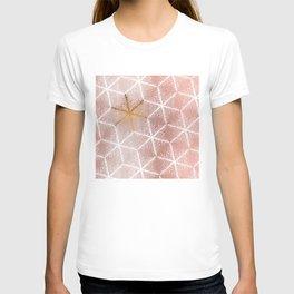 Elegant Geometric Gold Snowflakes Holiday Pattern T-shirt
