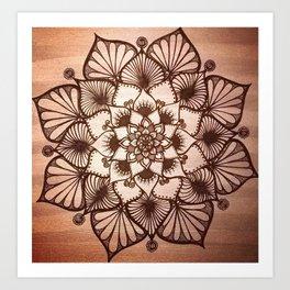 Black & Rose Gold Hand-drawn Mandala Art Print