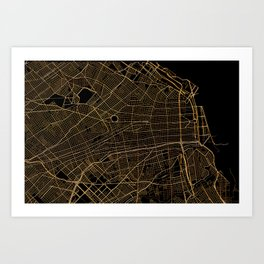 Buenos Aires map, Argentina Art Print
