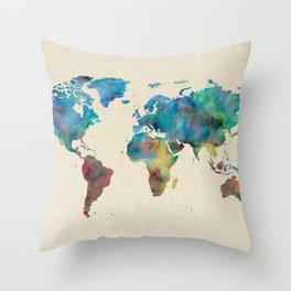 World Map Watercolor Linen Blue Red Yellow Green Throw Pillow
