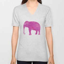 Watercolor Elephant Stampede Pretty Pattern Unisex V-Neck