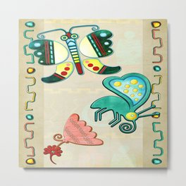 Zuni Butterfly Folk Art 2 Metal Print