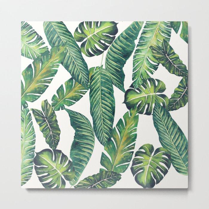 Jungle Leaves, Banana, Monstera II #society6 Metal Print