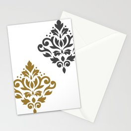 Scroll Damask Art I Gold & Grey on White Stationery Cards