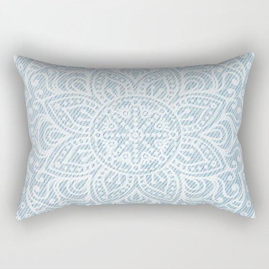 Mandala on Light Blue Jeans Rectangular Pillow