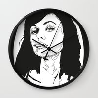 smoking Wall Clocks featuring Smoking by Anna McKay